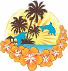 Tropical hibiscus dolphin decal Camper RV motor home mural graphic