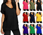 New Women Baggy Fit Top Ladies Turn Up Loose Short Sleeve Top T Shirt Size 8-14