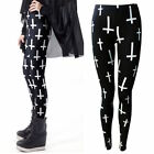 LADIES BLACK AND WHITE GOTHIC CROSS PRINT STRETCHY LONG LEGGINGS SIZE 8-14