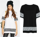 Women ladies TRIBAL AZTEC printed BAGGY oversized top T SHIRT 8-14
