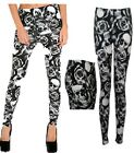 Girls  Women Skull and Roses black&white Print Full Length Tight Leggings