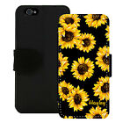 PERSONALIZED WALLET CASE FOR iPHONE 5 5S SE 6 6S 7 PLUS BLACK SUNFLOWER