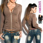 Sexy Women's Full Zip Jumper Jacket Cardigan Party Casual Top Size 6 8 10 XS S M