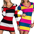 Sexy Women's Long Sleeve Striped V-neck Bodycon Club Party Cocktial shirt Dress