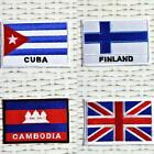 CUBA Finland CAMBODIA Britian FLAG Iron On Patch Transfer Badge National Country