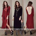 Sexy Vintage Women Casual Long Dress Bracelet sleeve Evening Party Cocktail EE