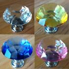 30mm Diamond Clear Crystal Glass Door Pull Drawer Knob Handle Cabinet Furniture