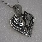 HORSE HEART GOD Couple love friendship valentine's unicorn Silver Pewter pendant