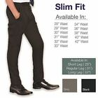 "Slim Fit Mens Smart Office Trousers Black Grey Navy Skinny Leg Pants 28""-42"""