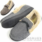 Mens Herringbone Design Moccasin Style Slippers with Warm Faux Fur Lining