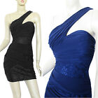 New One Shoulder Lace Jersey Prom Cocktail Party Club Dress