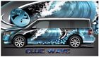Blue wave hibiscus go kart race car vinyl graphic decal half wrap
