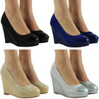 WOMENS PARTY GLITTER SANDALS PLATFORM LADIES HIGH WEDGE HEEL COURT SHOES SIZE