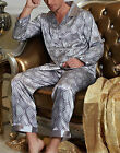 Sexy Mens Silk Satin Pajama Set US S M L XL XXL Loungewear Multi-color Silkpeace