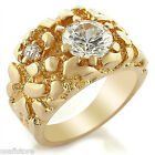 4.6ct Round Shape Clear CZ Stone 18kt Gold EP Mens Nugget Ring