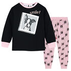 Pyjamas Girls Cotton Knit Pjs (Sz 3-7) Set Black Pink Puppy 'Smile' Sz 3 4 5 6 7