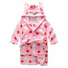 Pyjamas Girls Winter Fleece Dressing Gown Robe (Sz 8-14) Pink Polka Sz 8 10 12 1