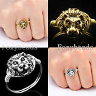 Punk Cool Gold/Silvery Lion Head Wire Wrap Finger Ring us6-9 Unisex Jewelry Gift