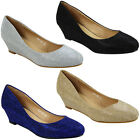 NEW WOMENS PARTY GLITTER SHIMMER LADIES LOW HEEL SLIP ON WEDGE COURT SHOES SIZE