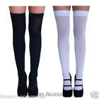 AS180 White or Black Opaque Thigh High Stockings Ladies School Girl Costume Sock