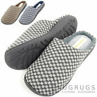Mens Microsuede Slip On Mules / Slippers Micro Fleece Lining and Checked Design
