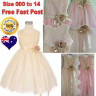 Lovely Ivory Or Pink Flower Girl Dress Party Formal Girls Dress Size 00 to 14