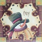 "JM8541 Cozy Snowman Jo Moulton 6""x6"" framed or unframed print art"