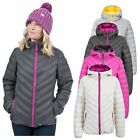 Trespass Release Womens Padded Jacket with Hood Pink and White Colours