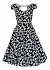 Retro 1950's Vintage Style Bow Print Cut Out Neckline Jive Swing Dress New 8-18
