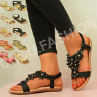 NEW WOMENS SUMMER FLOWER SANDALS LADIES FLAT DIAMANTE FLIP FLOPS SHOES SIZE 3-8