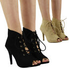 WOMENS PARTY LACE UP PEEPTOE SANDALS LADIES HIGH STILETTO HEEL SHOES BOOTS SIZE