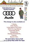 AUDI LOGO EMBROIDERED HOODED SWEATSHIRT.. 22 COLOURS IN 8 SIZES