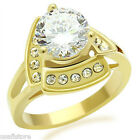 Round Cut  4ct CZ Solitaire with 15 Crystal Gold EP Ladies Ring