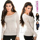 Sexy Women's Jumper Top Sweater Hot Pullover Cut out Diamante Size 6 8 10 XS S M