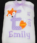 Personalised Baby Blanket Fleece Embroidered Newborn Gift with Babies Name + Fox
