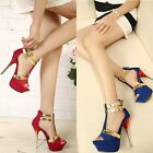New Women's Party Wedding High Heel Platform Open Toe Ankle Strap Shoes US 4-9
