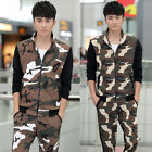 New Men's Camo Casual Breathable Stand Collar Coat Running Sports Suit Outerwear