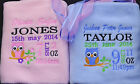 Personalised Baby Blanket Embroidered Gift Full Details with Babies Name Owl
