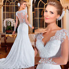 New White/Ivory Long Sleeve Lace V-Neck Wedding Dresses Bridal Gowns Custom Made