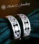 Simulated Diamond/Crystal Hoop Earring/18K White Gold Plated/RGE387