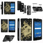 FOR SAMSUNG GALAXY PHONES CASE RUGGED ARMOR HYBRID HOLSTER - Skull and Leaves