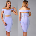 Womens New Sexy Bluet Lilac 2 Peice Strap Back Top Skirt Set Bandage Dress Hot