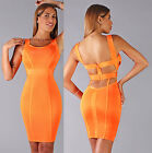 Womens Sexy New Neon Orange Plunging Back Sleeveless Bandage Dress New Hot