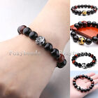 Mens Womens Chinese Dragon Black Agate Red Tiger's Eye Gemstone Beads Bracelet