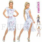 Sexy European Side Split Maxi Dress Floral Print Short Sleeve Size 6 8 10 XS S M