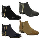 NEW WOMENS LADIES GUSSET PULL ON LOW FLAT HEEL CHELSEA ANKLE BOOTS SHOES SIZE