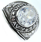 Navy Clear Oval Stone US Military .925 Sterling Silver Mens Ring
