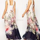 Ladies Floral Long Maxi Dresses Summer Sleeveless Boho Party Beach Sundress S-XL