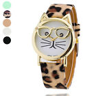 Fashion Cute Glasses Cat Analog Quartz Dial Leather Wrist Watch For Women's Gift