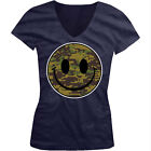Smiley Face Army Camouflage Soldier Military Troops USA Juniors V-Neck T-Shirt